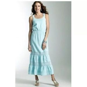 J Jill 100% Linen Maxi Crochet Detail Maxi Dress